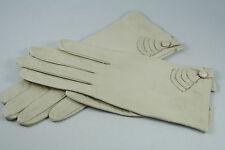 Vtg West German Kid Leather Gloves Size 7 Short Applied Leather Decoration