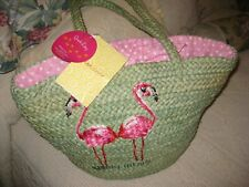 NWT Quacker Factory X-Large Green Straw Pink Flamingos Beach Shoulder Bag Tote