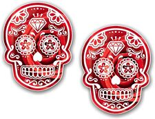 2pcs 70X55MM Messicano DAY OF THE DEAD ZUCCHERO Bella rosso rosa