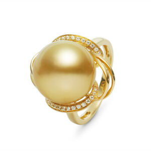 13.2mm Round Rich Golden South Sea Cultured Pearl Ring 14K Solid Yellow Gold
