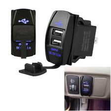 Blue Light Charger Carling ARB Dual USB Switch Socket Power Car Truck Boat 3.1A