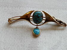 Archibald Knox Murrle Bennett vintage Arts Crafts 15 carat gold turquoise brooch