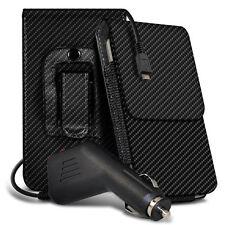 Carbon Fibre Belt Pouch Holster Case & Car Charger For Aldi Medion Life E4506