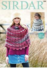 Sirdar 7878 Crochet Patttern Womens Girls Ponchos in Sirdar Aura Chunky