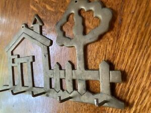 Vintage Brass Key Holder 5 Hooks Wall Hanging Entry Way House and Tree