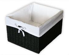 KMH® Schrankkorb Regalkorb Aufbewahrungskorb Kiste Korb Rattan schwarz weiß