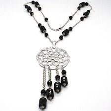 Necklace Silver 925, Onyx Black Pipe, Locket Stars and Circles, Waterfall