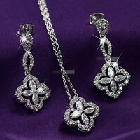 18k white gold gf made with SWAROVSKI crystal earrings necklace wedding set