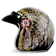Vintage Motocycle Helmet Indian Chief Feather Headband 3/4 Face ATV Motocross