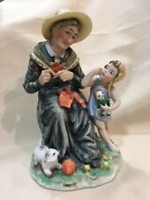 """Vintage """"Candrea"""" Figurine old lady with girl, made in Japan. #7017"""