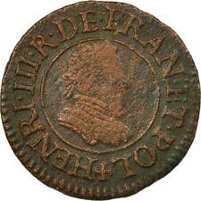 [#511958] Monnaie, France, Henri III, Denier Tournois, 1580, Paris, TB, Cuivre
