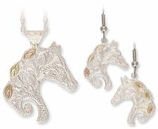 "Landstrom's Black Hills Gold on Silver Horse Head Jewelry Set Hooks 18"" Chain"