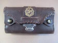 Leather purse, leather wallet, Douglas coat of arms, antique