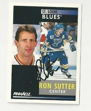 91/92 Pinnacle Autographed Hockey Card Ron Sutter St. Louis Blues