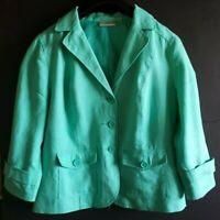 STUDIO WORKS Womens Mint Green Linen Cropped Button Down Jacket Blazer Size L
