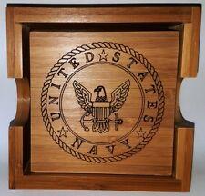 United States Navy Bamboo Coaster Set With Holder