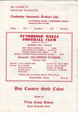1978/9 Turnbridge Wells v Woking FA Cup qualifying programme