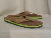 The Tropics Rainbow Women's Single Layer Sierra Brown & Lime Leather Sandals