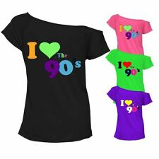 I Love The 90s Top T-shirt Pop Retro 90's Music Ladies Off Shoulder 6687 Lot