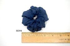 Silk Scrunchies Ponytail Holder Elastic Ties Hair Band Navy Ink Blue Indigo 016