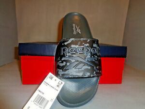 Mens Reebok Classic S/O Slides Sandals Gray CAMO Sizes NIB New Great for the Gym