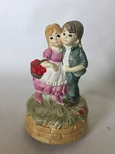 Vintage 1974 Musical Figurine Spencer Gifts Boy Girl picking strawberries