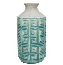 Rustic Pottery Duck Egg Blue Ceramic Pot Bottle Decorative Geometric Bud Vase