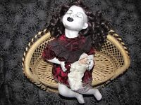 Sleeping Child Bench Sitting Laying Creepy Horror Prop Doll Christie Creepydoll
