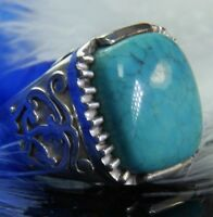 Turquoise 0.925 Sterling Silver 16 x 12 mm stone Estate sturdy Ring size 7