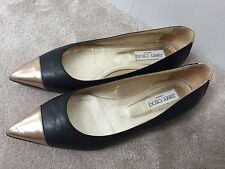 JIMMY CHOO Black Leather FLATS PUMPS Pointed Gold Toe Shoes Size Uk 5 Eu 38