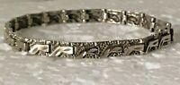 """Vintage Hammered Solid Sterling Silver Panel Link 7 in. """"  Bracelet 925 nugget"""