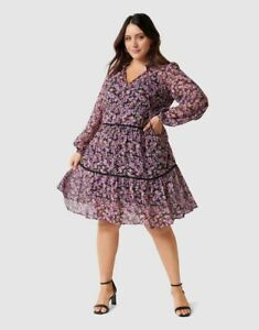 New with Tags FOREVER NEW Teigan Curve Tiered Shift Dress- size 20 - RRP $139.99