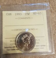 1993 canada 25 cents ICCS MS65 GEM