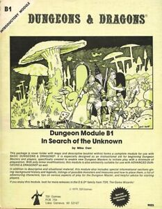 B1 IN SEARCH OF THE UNKNOWN MONO EXC! TSR Module D&D Dungeons Dragons Adventure