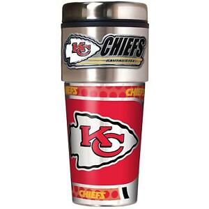 Kansas City Chiefs NFL 16 oz Travel Tumbler w/ Metal Emblem