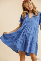 Umgee Linen Blend Striped Short Sleeve Tiered Ruffle Dress Size S M L
