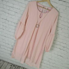 NY Collection Dress Womens PXL Pink Keyhold Shift High Low MSRP $60