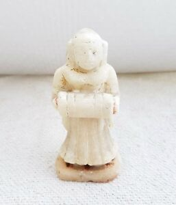1920s Vintage Original Old Handmade Marble Stone Lady Playing Drum Statue Figure