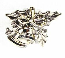 Gold Tone Brooch Pin with Mistletoe and Bells by Best