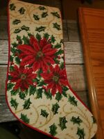 VINTAGE WOOL NEEDLEPOINT CHRISTMAS STOCKING POINSETTIAS RED & GREEN 18""