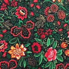 Black Red Floral Cotton Print Fabric Joan Kessler For Concord Fabrics Quilting O