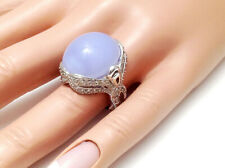 11.20Ct Natural Blue Chalcedony And Diamond Ring Solid 14K White Gold, Cabochon