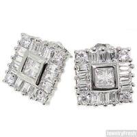 Fancy Baguette and Princess Cut Cubic Zirconia Stud Earrings