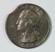 1964 P Silver Washington Quarter Curved Clip Clipped Planchet US Mint Error