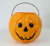 Vtg General Foam Plastic Blow Mold Pumpkin Halloween Candy Bucket Pail Smiling
