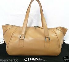 Auth CHANEL Quilte Leather CC Tote Boston Shopping Handbag Shoulder Bag sz XL