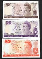 NEW ZEALAND. Fleming (1967-68) 1st Prefix $1 OA, $2 OAO, $5 001. Matched Serials