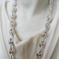 8mm Hollow Puffed Mariner Chain Mens Necklace 925 Silver Sterling 40GR 24 Inch
