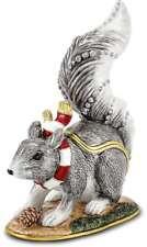 Bejeweled Kristall Emaillierte Winter Eichhörnchen Schmuckkästchen