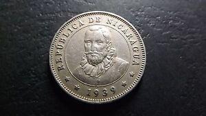 Key Date 1939  Nicaragua 25 Centavos Rarer Type NiceToning